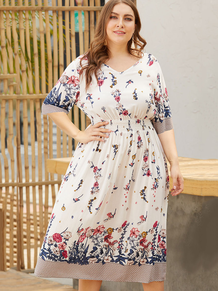 Women Ethnic Dress Ladies Clothes Boho Style Beach Wear Plus Size V-neck Mid-sleeve High Waist Printed Loose Holiday Dress
