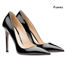 Aiyoway Women Shoes Pointed Toe High Heels Pumps Autumn Spring Party Clubwear Shoes Slip-On Patent Leather Ladies Sexy Heels foreada cow genuine leather women shoes slip on mules sexy thick high heels shoes spring 2018 pumps black square toe party shoes