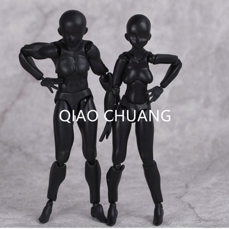 13CM NEW BODY Male Woman He She BLACK Movable Refinement 2Pcs PVC Action Figure Collection Model Toy RETAIL BOX G121
