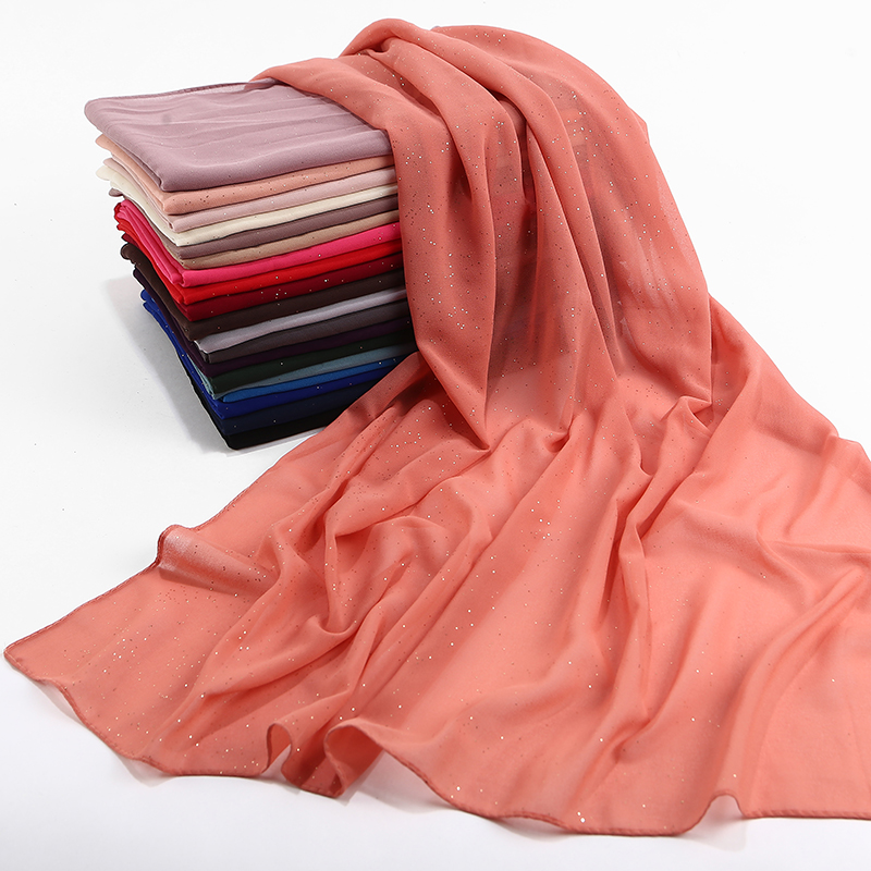 Image 4 - bubble chiffon glitter scarves shawls hijab plain shimmer long 