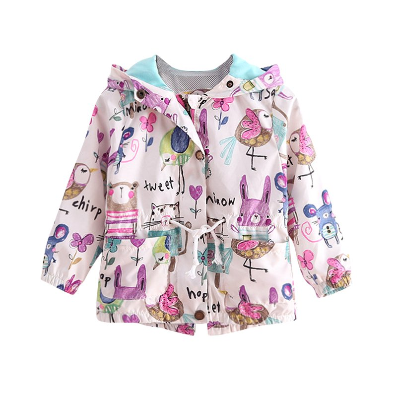 Fashion Spring Autum Cute Girl Coat Print Cartoon Graffiti Hooded Zipper Jacket Full Sleeve Toddler Outerwear