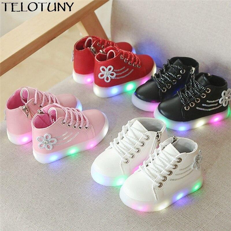 TELOTUNY 2018 Children Baby Girls Floral Crystal Led Light Luminous Running Sport Boots Shoes IU30