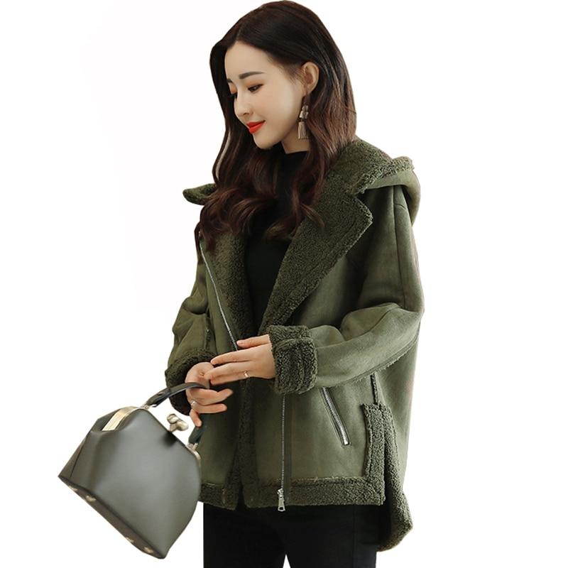 2019 New Fashion Short Female Jackets Suede Leather Collar Zipper Woman Coat Winter Long Sleeve Women's Suede Warm Jacket QH1232