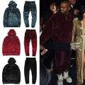 2017 Kanye West YEEZY Hombres Mujeres Hip Hop de Terciopelo de terciopelo Chándal Con Capucha Pantalones Joggers Streetstyle causual 4 colores Liberan El envío