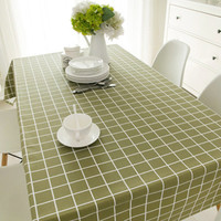 Green Pure And Fresh And Rural Style 100% Cotton Table Cloth 1pcs