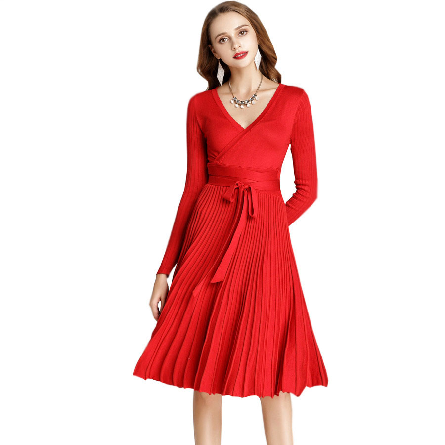 Black-Red-Winter-Dress-2018-Womens-Long-Sleeve-Sexy-V-Neck-Elegant-Casual-Pleated-Tunic-Office
