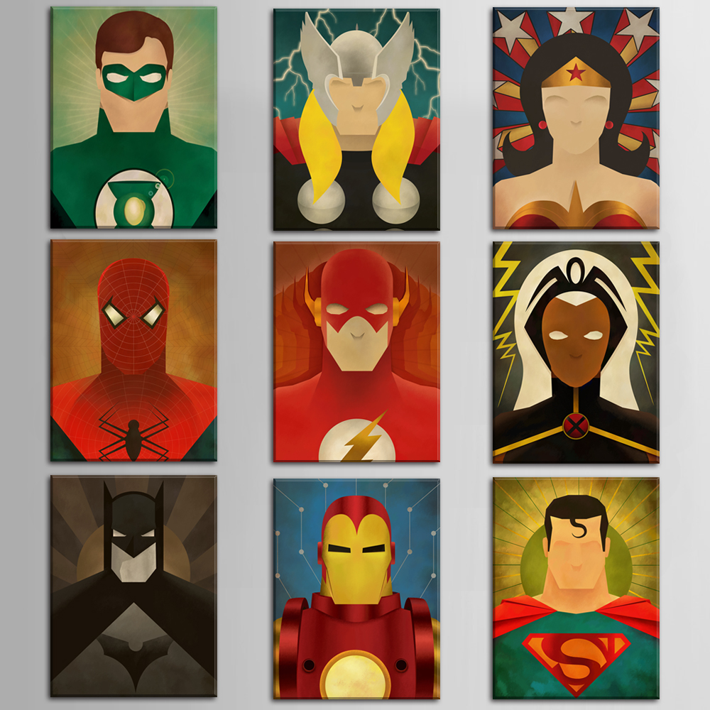 cartoon super hero canvas prints canvas art oil painting home decoration wall pictures for. Black Bedroom Furniture Sets. Home Design Ideas