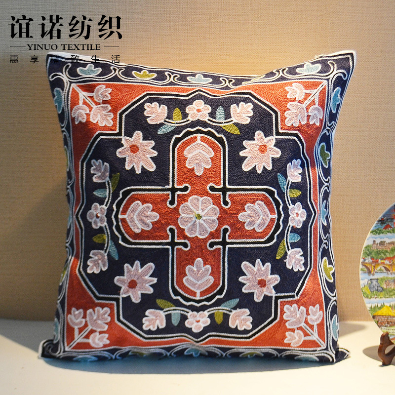 Bouclair Home Decorative Pillows : 2016 Embroidered Cushion Covers Sofa Embroidery Decorative Throw Pillows Cotton Chair Throw ...