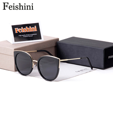 FEISHINI Round Brand Designer Gradient High Quality Polarized Sunglasses Women Mirrored Metal Cat Eye Rose Driving Sexy 2019