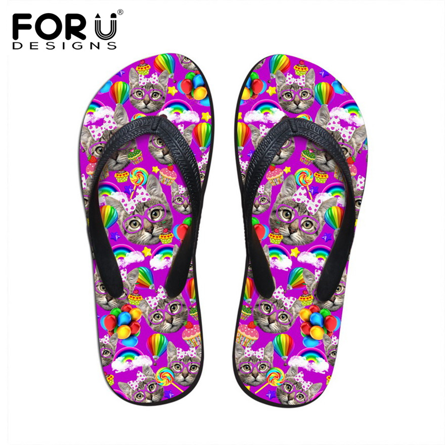 FORUDESIGNS 2018 Summer Women Casual Flip Flops Cute Pet Mini Cat Prints House and Beach Flipflops for Lady Soft Rubber Slippers