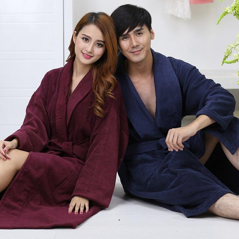 26910cc08a Autumn winter thickening cotton bathrobe man towel fleece robe lengthen XXL  plus size long-sleeve sleepwear lovers homewear