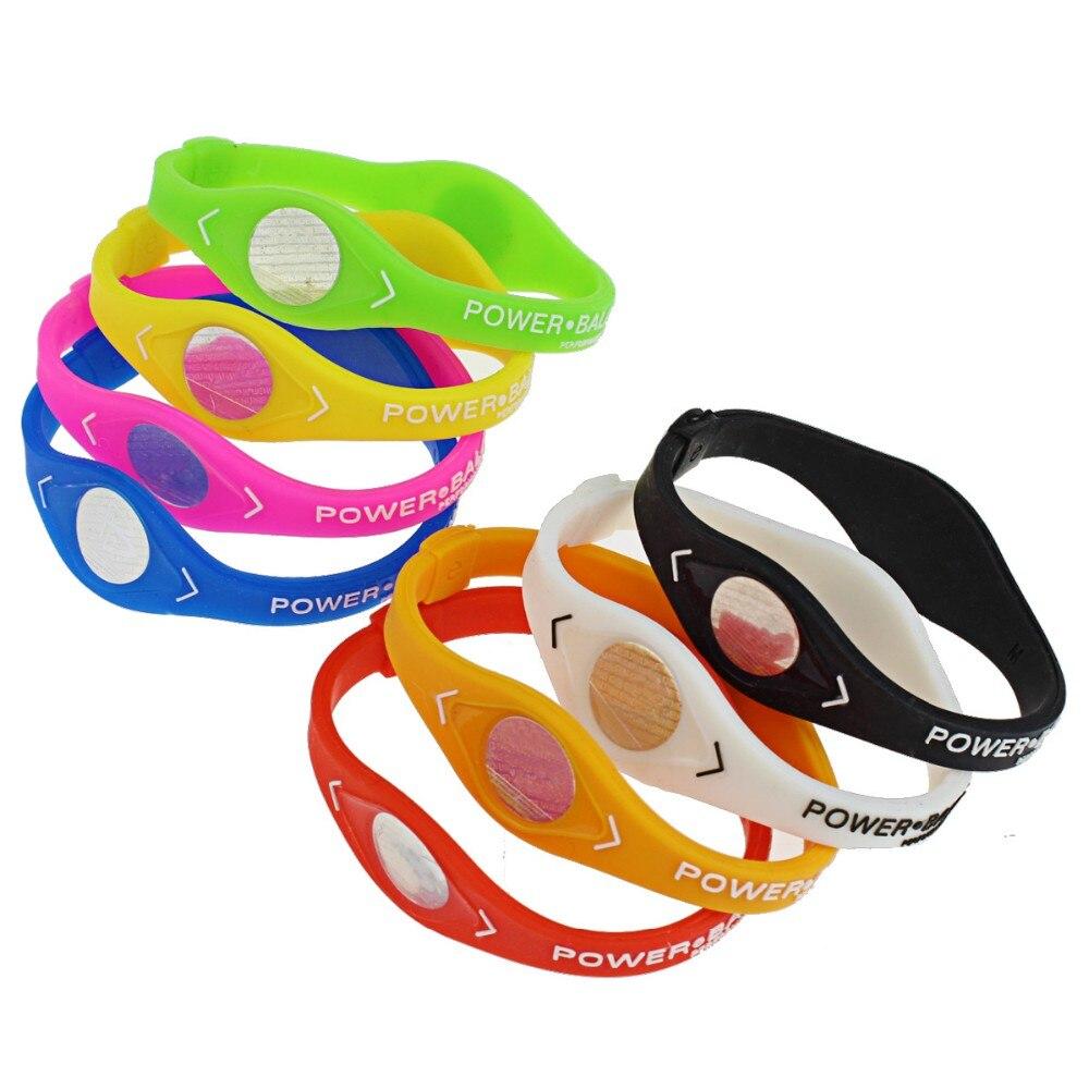 2pcs/set Charm Designer Power Energy Bracelet Bangles For Women Men Sport Wristbands Balance Ion Magnetic Therapy Silicone 5