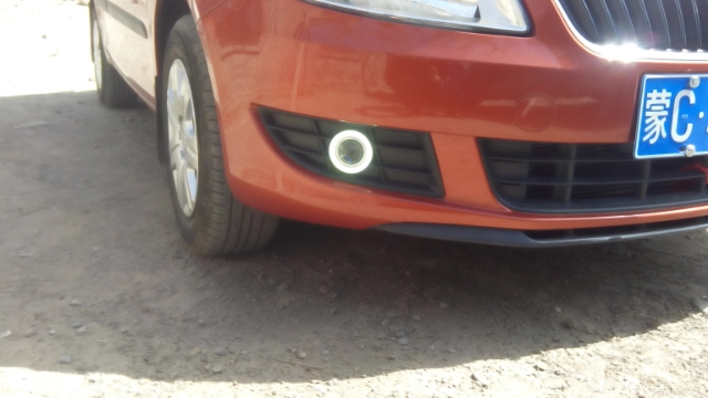 DRL CCFL ангельские глазки + галогенная противотуманная фара + объектив проектора + черная противотуманная фара крышка + для skoda fabia 2012 14, 2 шт