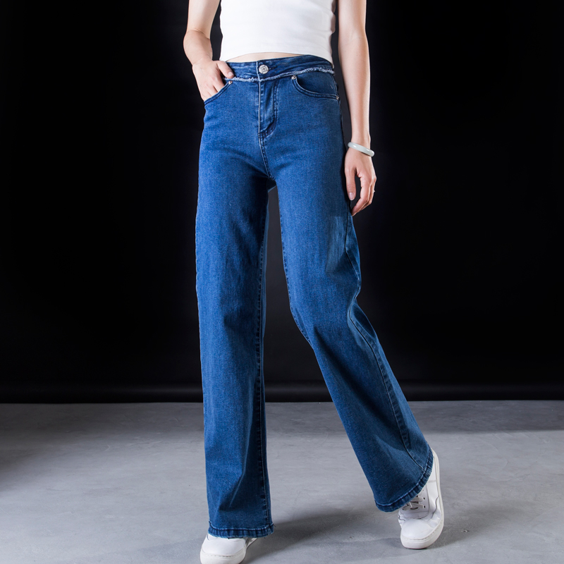 ACRMRAC Women jeans New Spring and autumn High waist blue Stitching Slim Loose Large size Full Length Wide leg pants jeans Women 2