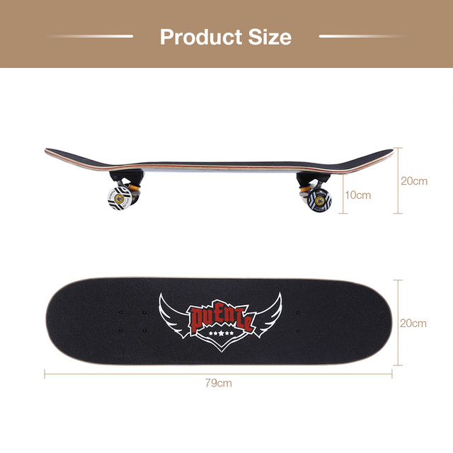 PUENTE 608 ABEC - 9 Adult Four-Wheel Skateboard Double Snubby Maple Skateboard 5 Inches Magnesium Aluminum Alloy Truck 1