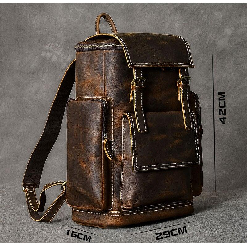 Воловья кожа мужской рюкзак из натуральной кожи большой емкости чехол для ноутбука для путешествий повседневная школьная книга сумки Мног... - 6