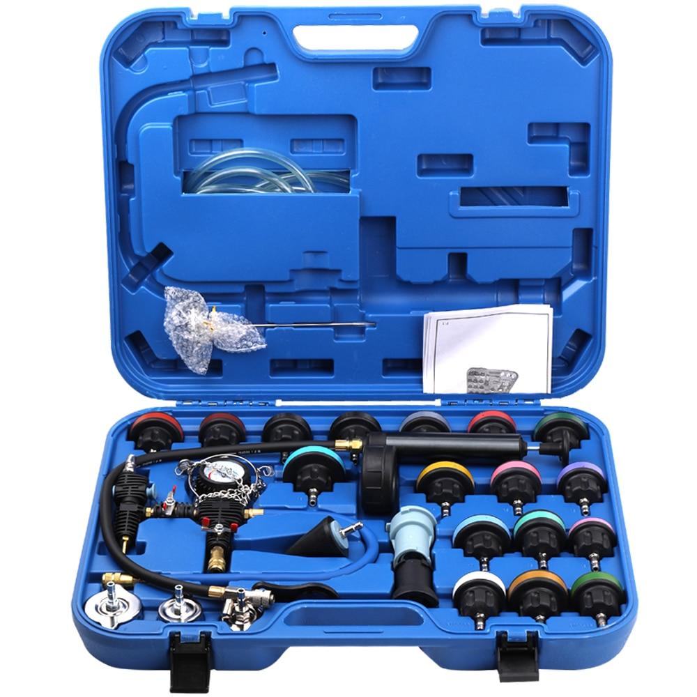 28pcs Car Repair Tool Kit Sets Universal Radiator Pressure Tester Vacuum Type Cooling System Test Detector Tools Kits Car Tool