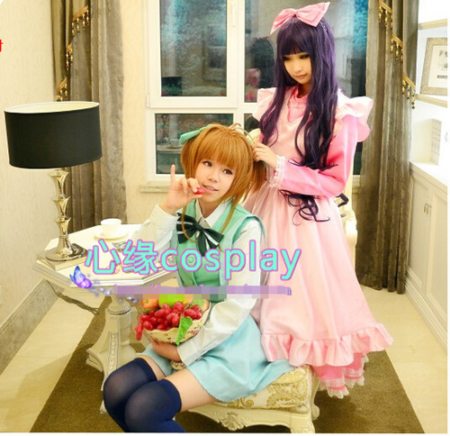 Hot Cardcaptor Sakura Tomoyo Daidouji Cosplay Costume Lolita Party Dress Skirt S-XL or Custom-made Any Size Free Shipping NEW plus size light up cosplay party skirt