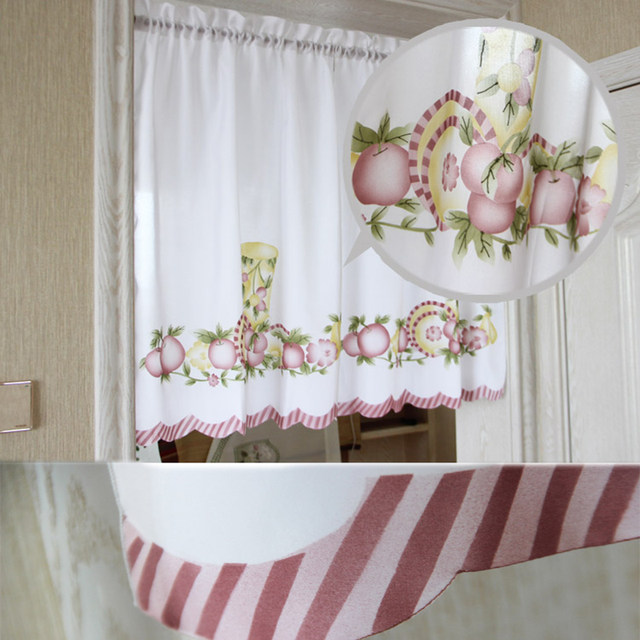 Charmant New Cafe Short Kitchen Curtains Fruits Design Embroidery Lace Japanese Door  Curtain Cotton And Linen Blending Window Curtains