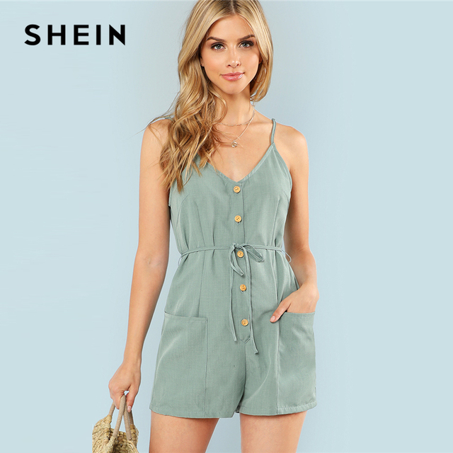 e3dd2c91390 SHEIN Green Plain Sexy Spaghetti Strap V Neck Sleeveless Button Pocket Mid  Waist Cami Romper Summer