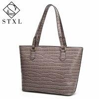 STXL Neue Frauen Mode Krokoprägung Umhängetasche Wilden Handtasche damen Große PU Blau Weiß Rot Braun Grau Solide Farben tasche