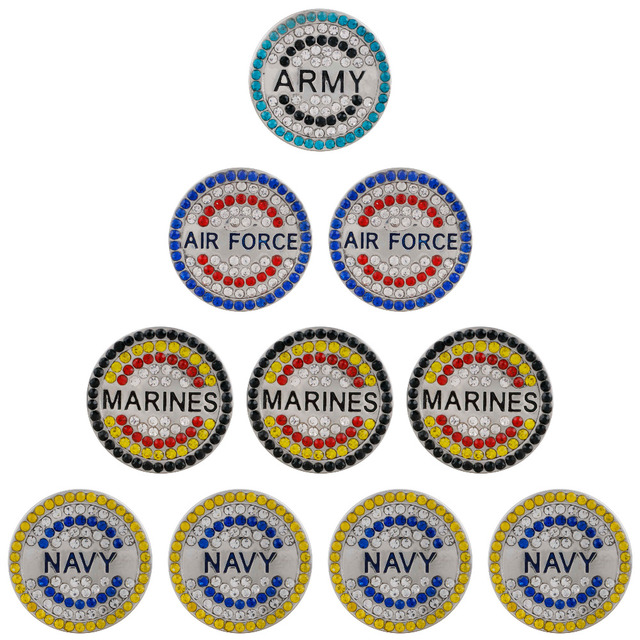 2018 fashion jewelry Navy Air Force Multicolor Multilayer Rhinestone Snap  beads fit 18mm Fashion Snap bracelets for Women Men fd3f80edc0