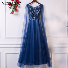 VENSANAC O Neck 2018 Lace Flowers A Line Long Evening Dresses Elegant Crystal Appliques Backless Party Prom Gowns