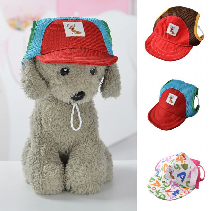 daf976610c0 Dog Hat With Ear Holes Summer Mesh Ventilation Baseball Cap For Small Pet  Dog Outdoor Sport Visor Hiking Pet Products