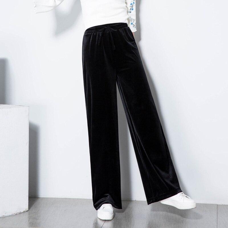 Autumn Spring Pleuche Women Pants 2018 High Quality Lace-Up Waist Wide Leg Trouseres And Ladies Casual High Waist Sweatpants 2