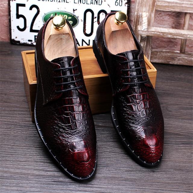 Men's Crocodile Dress Leather Shoes Lace-Up Wedding 1