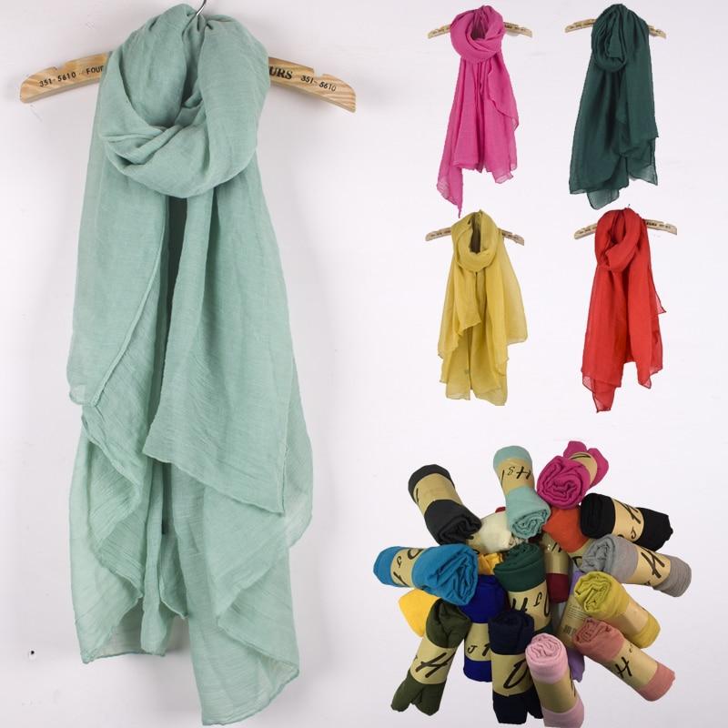 Gran tamaño 180 * 99 cm. Silenciador de alta calidad de algodón y lino. Bufanda de invierno. Bufandas de lino de 21 colores para mujeres, literarias puras, literarias.