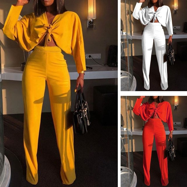 Summer 2 Piece Set Two Piece Solid Outfit Suits Bat Long Sleeve Crop Top High Waist Wide Leg Pant Suit Sexy Set