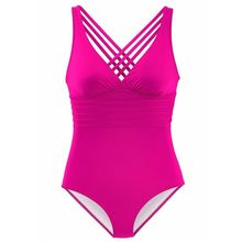 Womens Plus Size Sexy One Piece Tankini Plunging V-Neck Monokini Backless Criss Cross Multi Bandage Swimsuit Solid Color Pleated