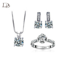 women 925 sterling silver suspension jewelry sets ladies wedding accessories necklace earrings rings 3 set jewelry hhm002