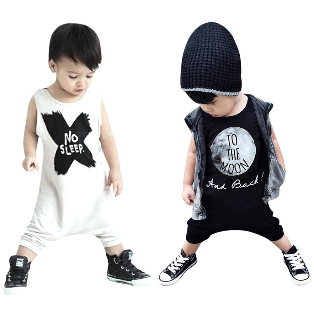 Baby Boy Kleding Romper Pasgeboren No Sleep Letter Zwart Wit Jumpsuit - Babykleding