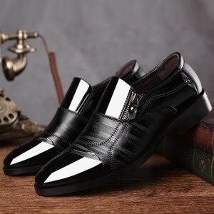 Image 5 - ريتين 2020 احذية الرجال الرسمية مدببة اصبع القدم الرجال اللباس أحذية جلدية الرجال أكسفورد أحذية رسمية للرجال موضة فستان الأحذية 38 48