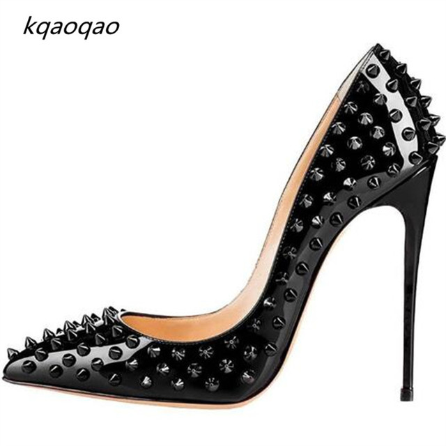 c46970cfe84 Pigalle Spikes 120mm Patent Leather Pointed Toe Pumps Black High Heel Sexy  Lady Studded Big Size Stilettos Rivets Shoes Woman