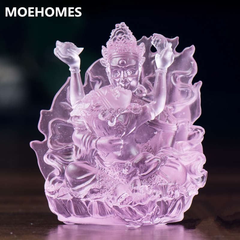 MOEHOMES Chinese antique colored glaze statue Happy Buddha statue Classical home decoration