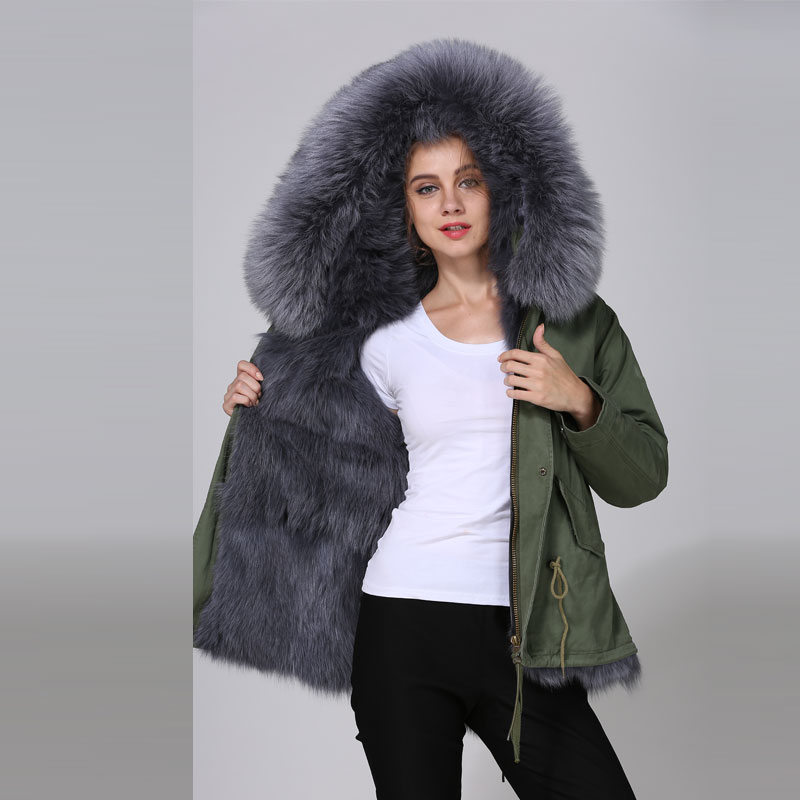 2018 Top Quality Mhnkro Grey Real Fur Lined Mr Mrs Winter Furs Parka With Fur Trim Miltary Short Cotton Fur Coat