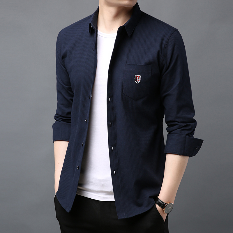 2019 Fashion Brand Shirt Mens Top Grade Workout Long Sleeve Slim Fit Street Wear Solid Color Dress Shirts New Casual Clothes