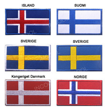 Embroidery Patch Flag of Island Iceland Suomi Finland Sverige Sweden Kongeriget Danmark Norge Norway European Flags Appliques(China)