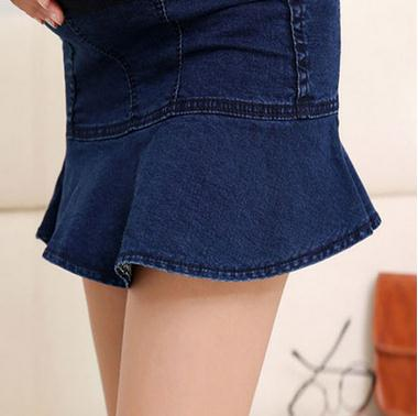 2017 Elastic Waist Denim Maternity Skirts Spring and Summer Jeans Clothes for Pregnant Women Ruffles Pregnancy Skirts SH-0173
