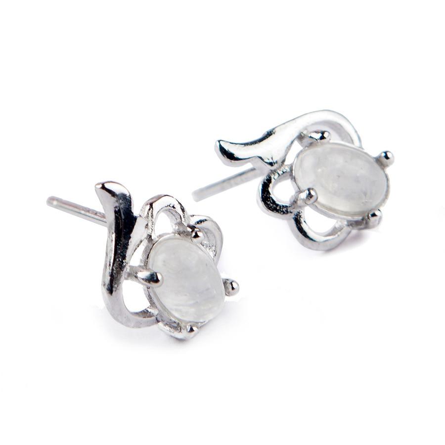 Genuine Natural Moonstone Crystal Bead Sterling 925 Silver Romantic Women Stud Earring One Pair