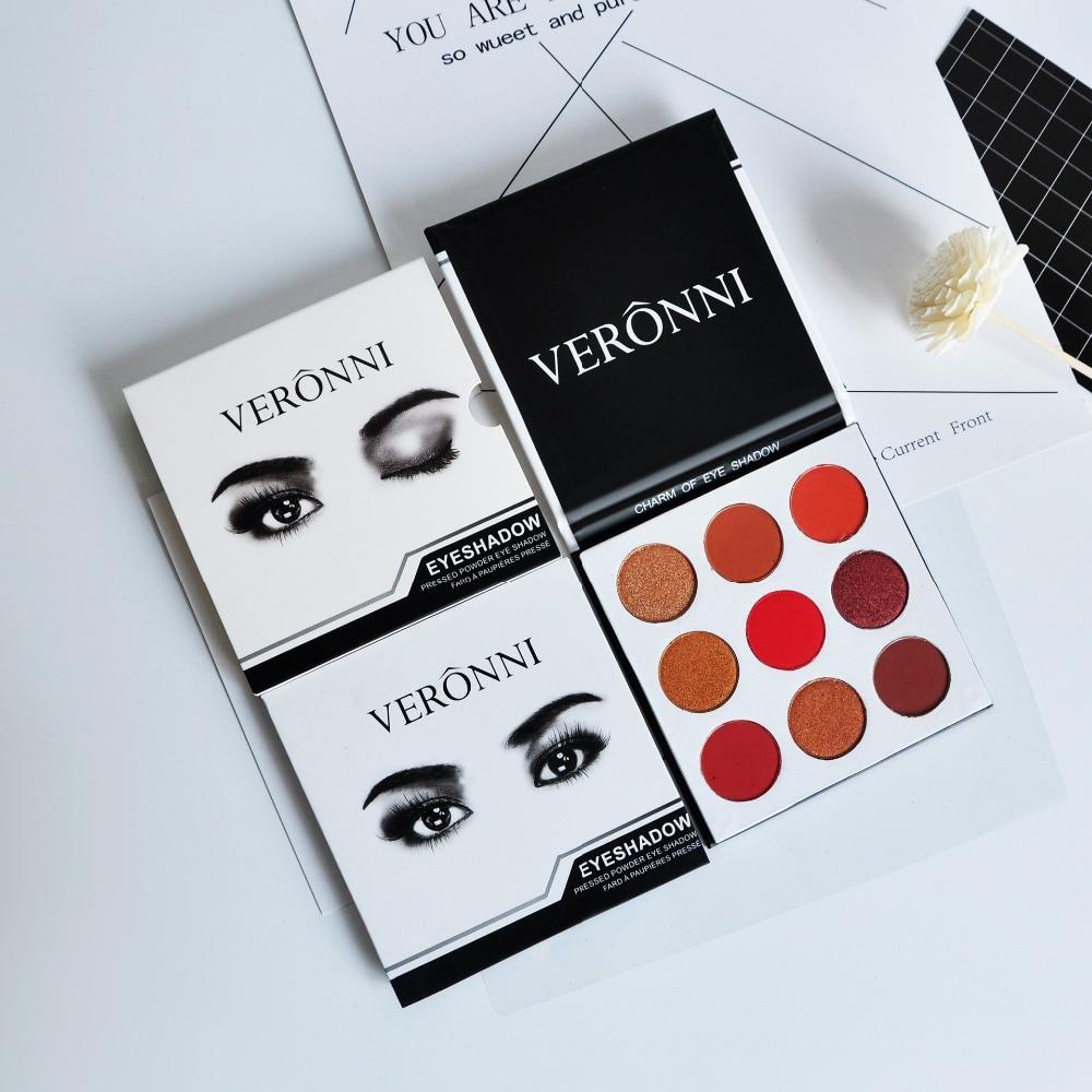 VERONNI Matte Eyeshadow Cosmetics 9 culori de mărime completă Bronz - Machiaj