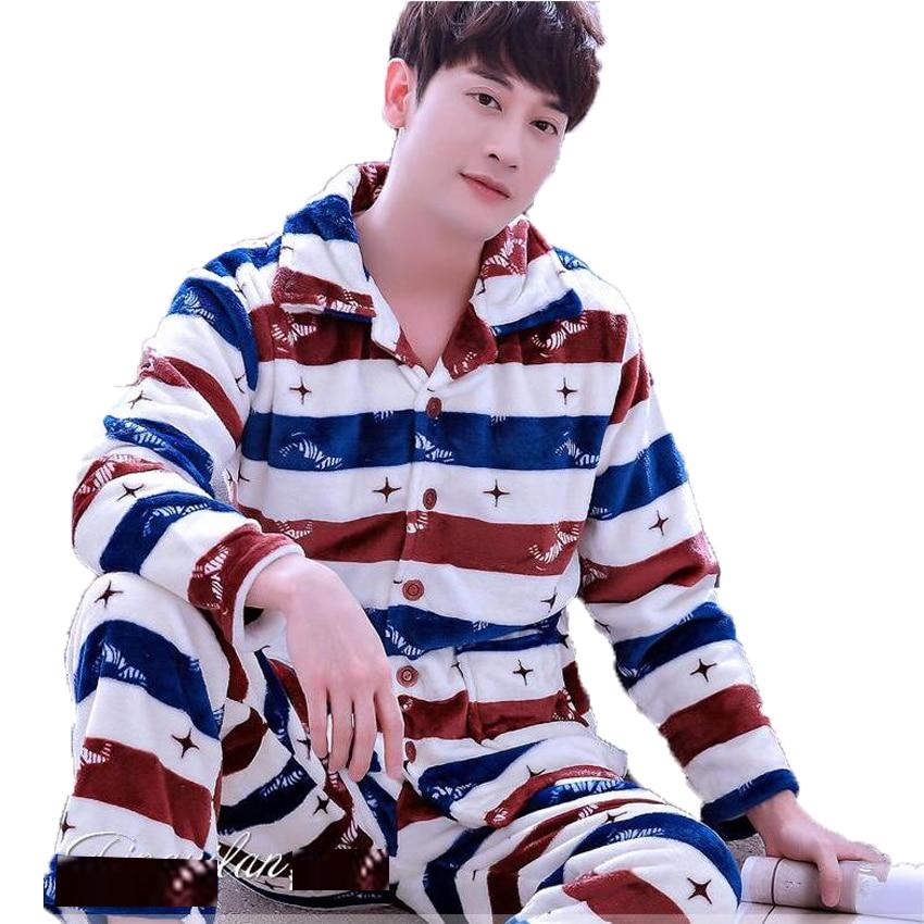 Men's Pajamas Winter Mens Pajama Sets O-neck Long Sleeve Pyjamas For Men Sleepwear Thick Warm Coral Fleece Pajamas Male Homewear #5