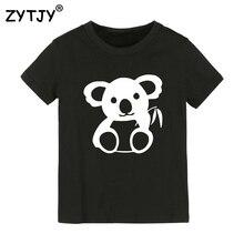 Коала Холдинг бамбука принт Детская футболка для мальчиков и девочек Футболка для детей одежда для малышей Забавные футболки Прямая поставка Y-29