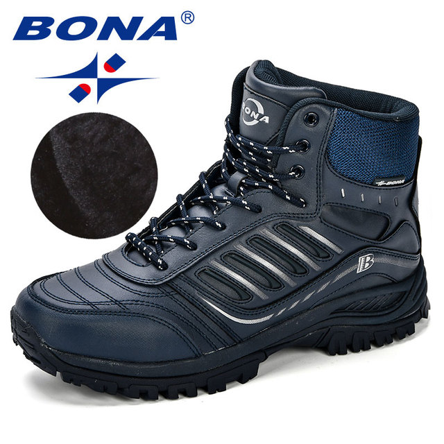 BONA Men Hiking Shoes Mid-Top Split Leather Outdoor Sneaker Men Comfy Trekking Boots Men Trail Camping Climbing Hunting Sneakers 3
