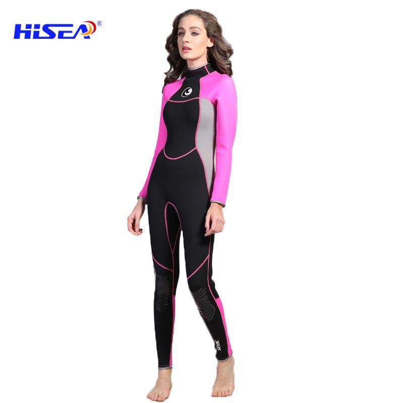HISEA Wetsuit Diving Women Upscale Pure cotton Suits 3mm Siamese Winter Spring Autumn Diving Jellyfish Wetsuits Q