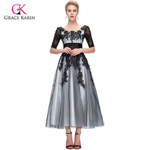 Grace Karin Half Sleeve Ankle Length Lace Evening Dresses Long 2016 High Quality Tulle Champagne White Black Formal Party Gown