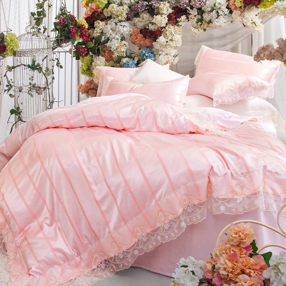 Принцессы Кружево постельное белье для взрослых, 100% хлопок розовый пододеяльник сатин простыни Мягкая Наволочка, twin королева размер постел